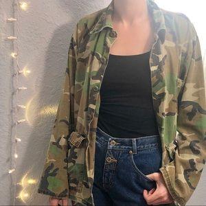 Vintage Camo Jacket Hunting Army Green Brown Tan